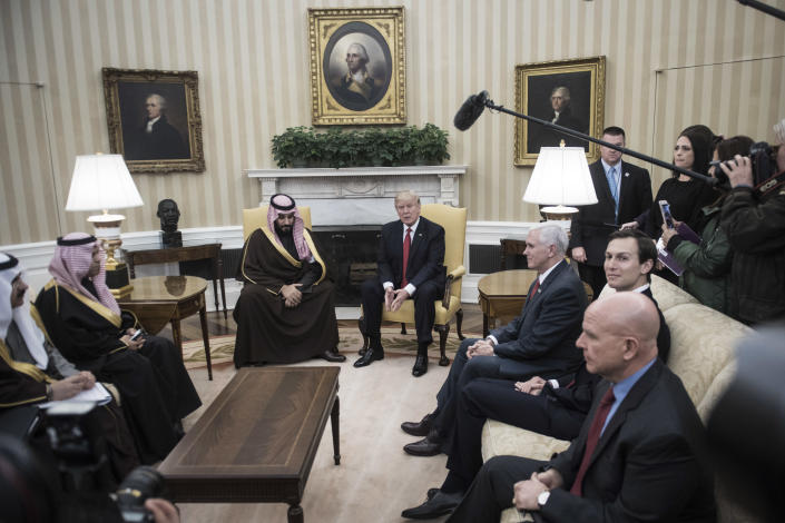 President Trump meets with <span>Saudi Defense Minister and </span>Deputy Crown Prince Mohammed bin Salman in the Oval Office of the White House in Washington on March 14, 2017. Vice President Pence, center right, and White House senior adviser Jared Kushner, right, listen. (Photo: Jabin Botsford/The Washington Post via Getty Images)