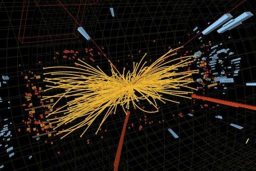 A proton-proton collision event measured in the Compact Muon Solenoid (CMS) experience in the search for the Higgs boson