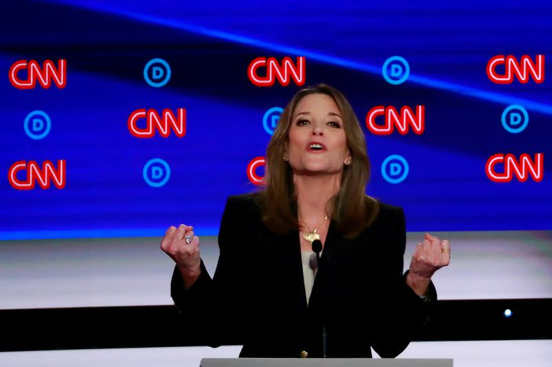 FILE PHOTO: Candidate author Marianne Williamson gestures during the first night of the second 2020 Democratic U.S. presidential debate in Detroit