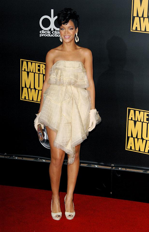 "No one can deny that Rihanna has style, but we weren't fans of this voluminous asymmetrical dress ... or her gloves. Steve Granitz/<a href=""http://www.wireimage.com"" target=""new"">WireImage.com</a> - November 23, 2008"