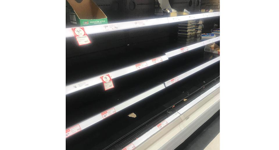 Supermarket shelves have been left bare across Sydney on Sunday as the city's Covid crisis continues to worsen. Source: Facebook