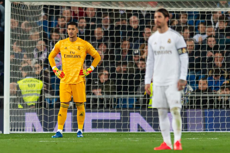 MADRID, SPAIN - FEBRUARY 06: (BILD ZEITUNG OUT) goalkeeper Alphonse  Areola of Real Madrid looks dejected during the Copa del Rey match between Ral Madrid and Real Sociedad at Estadio Santiago Bernabeu on February 6, 2020 in Madrid, Spain. (Photo by DeFodi Images via Getty Images)