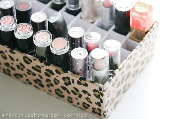"""<p>Lipsticks are tricky: They'll easily fall over when stored in a medicine cabinet, and they're small enough to get lost in a makeup organizer. A custom solution is in order, like this handy (and budget-friendly) box. </p><p><a href=""""http://www.emilydenisephotography.com/blog/diy-lipstick-holder/"""" rel=""""nofollow noopener"""" target=""""_blank"""" data-ylk=""""slk:Get the how-to at Emily Denise Photography »"""" class=""""link rapid-noclick-resp""""><em>Get the how-to at Emily Denise Photography »</em></a></p>"""