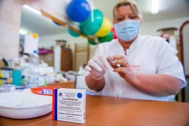 A box of the Russian Sputnik V vaccine is prepared for patients in Saint Margit Hospital in Budapest, Hungary, in April.