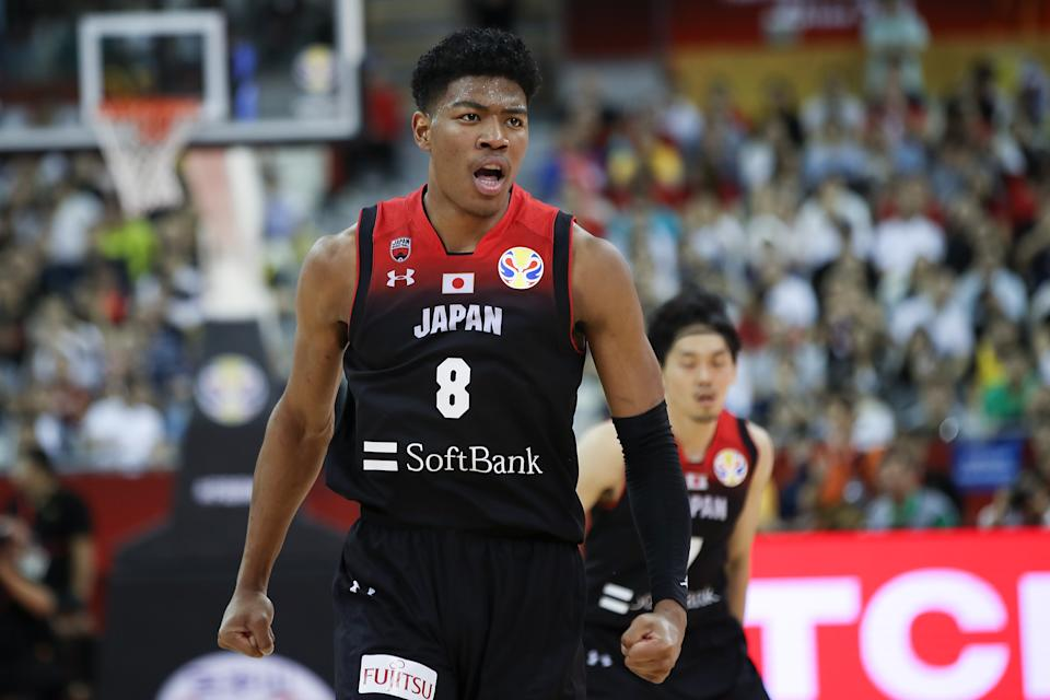 SHANGHAI, CHINA - SEPTEMBER 01:  Rui Hachimura #8 of Japan National Team reacts during the 1st round Group E march between Turkey and Japan of 2019 FIBA World Cup at the Oriental Sports Center on September 1, 2019 in Shanghai, China.  (Photo by Lintao Zhang/Getty Images)