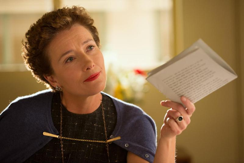 """This image released by Disney shows Emma Thompson as author P.L. Travers in a scene from """"Saving Mr. Banks."""" (AP Photo/Disney, François Duhamel)"""