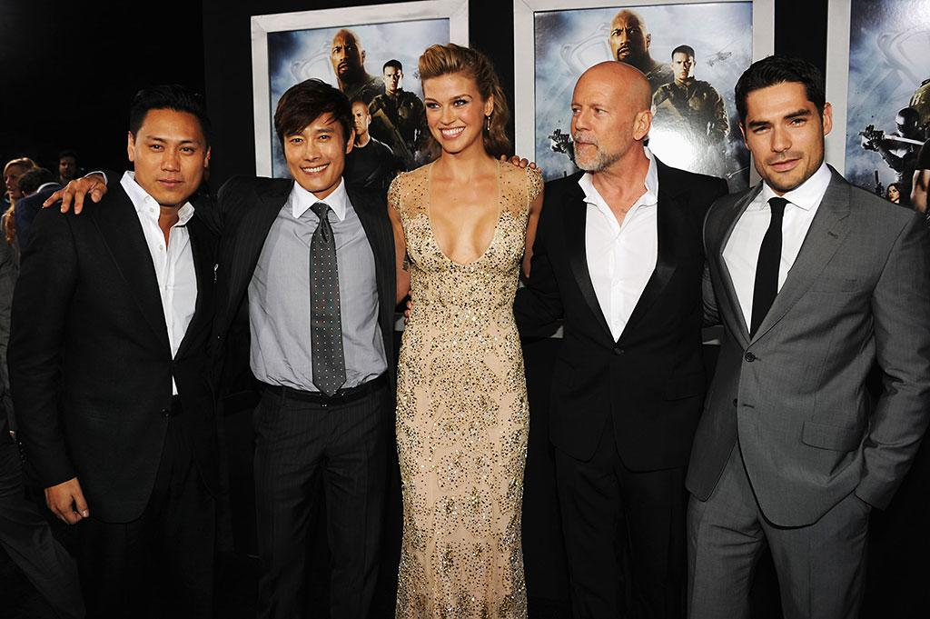 "Director Jon M. Chu, actors Byung-Hun Lee, Adrianne Palicki, Bruce Willis and D.J. Cotrona attend the premiere of Paramount Pictures' ""G.I. Joe:Retaliation"" at TCL Chinese Theatre on March 28, 2013 in Hollywood, California.  (Photo by Kevin Winter/Getty Images)"