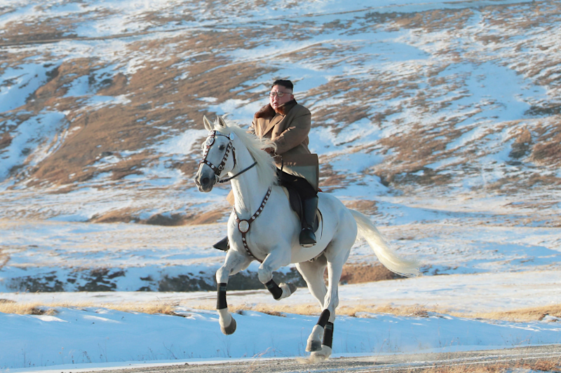 'Defiant Message' as North Korea's Kim Jong Un Rides White Horse on Sacred Mountain