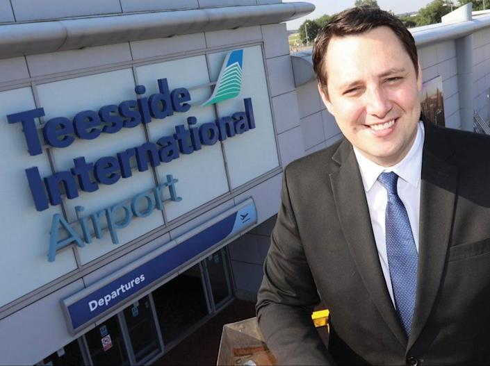 Loss leader: Ben Houchen, Tees Valley mayor, outside Teesside airport – which lost £13.8m in 2020-21  (Teesside International AIrport)