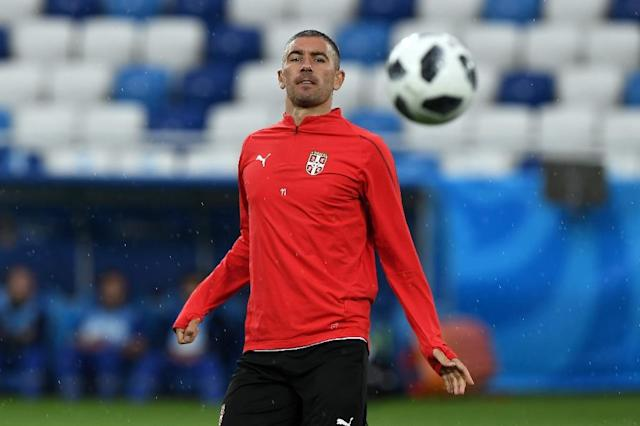 Serbia's defender Aleksandar Kolarov attends a training session in Kaliningrad on June 21, on the eve of their Russia 2018 World Cup Group E match against Switzerland (AFP Photo/Attila KISBENEDEK)