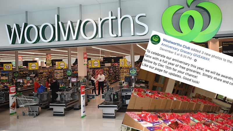 Pictured: Woolworths supermarket, Woolworths scam post on Facebook. Images: Getty, Facebook