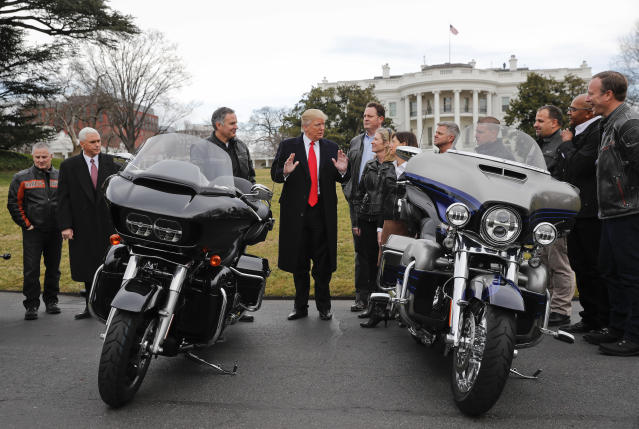 President Trump and Vice President Mike Pence meet with Harley Davidson executives on the South Lawn of the White House in Washington, Feb. 2, 2017. (Photo: Pablo Martinez Monsivais/AP)