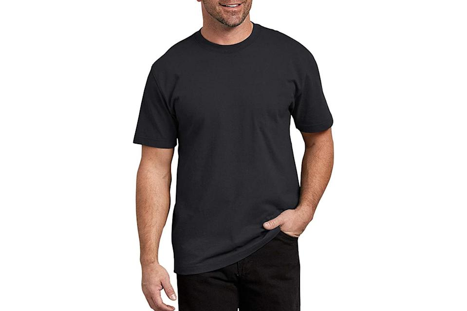 "$13, Amazon. <a href=""https://www.amazon.com/dickies-Short-Sleeve-Heavweight-Black/dp/B07PY1XHSK?ref_=Oct_DLandingS_D_b6f7d58d_61&smid=ATVPDKIKX0DER&th=1&psc=1"" rel=""nofollow noopener"" target=""_blank"" data-ylk=""slk:Get it now!"" class=""link rapid-noclick-resp"">Get it now!</a>"