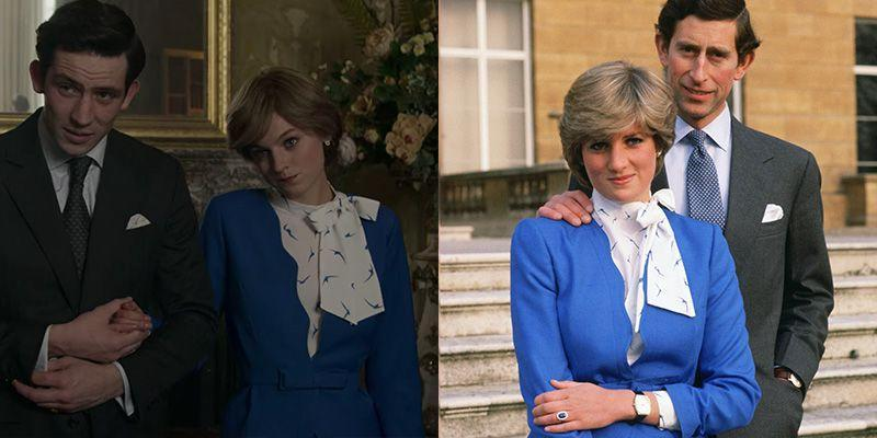 """<p>Of course, <em>The Crown </em>could not depict the """"whatever love means"""" scene without placing Emma Corrin in Diana's iconic engagement outfit. From the patent leather clutch to the printed pussy bow blouse underneath her blue belted skirt suit, the show recreated the ensemble to a T. Perhaps, they even ran out to Harrod's department store, which is where the <a href=""""https://www.popsugar.co.uk/fashion/Princess-Diana-Engagement-Dress-44228493"""" rel=""""nofollow noopener"""" target=""""_blank"""" data-ylk=""""slk:Princess picked out the outfit"""" class=""""link rapid-noclick-resp"""">Princess picked out the outfit</a> back in 1981. </p>"""