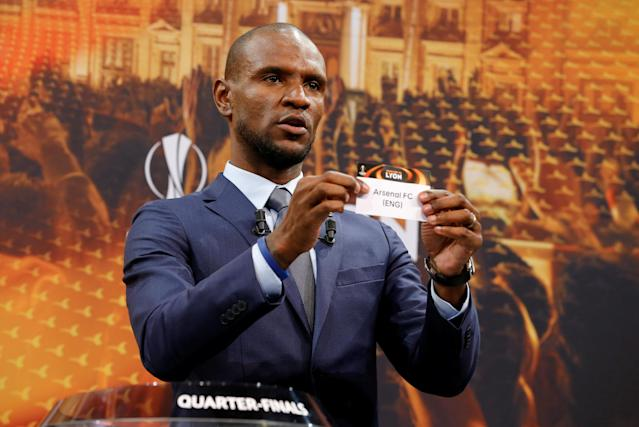 Soccer Football - Europa League Quarter-Final Draw - Nyon, Switzerland - March 16, 2018 Eric Abidal draws Arsenal REUTERS/Pierre Albouy