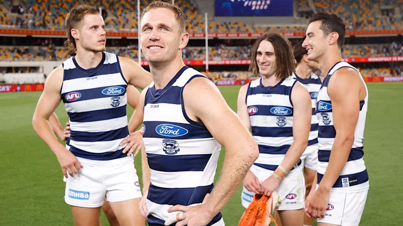 Joel Selwood and Geelong teammates, pictured here after their win over Collingwood.