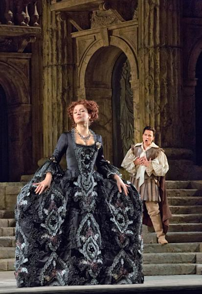 "This Nov. 13, 2012 photo provided by the Metropolitan Opera shows Barbara Frittoli as Vitellia and Elina Garanca as Sesto in a dress rehearsal of Mozart's ""La Clemenza di Tito,"" at the Metropolitan Opera in New York. (AP Photo/Metropolitan Opera, Ken Howard)"