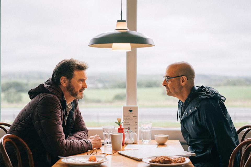 "Colin Firth, left, and Stanley Tucci reunite in ""Supernova"" after co-starring in crime comedy ""Gambit"" in 2012."