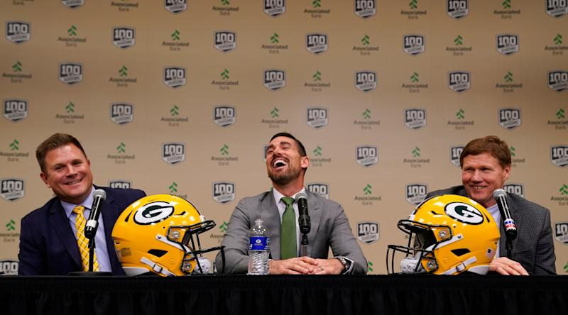Green Bay Packers head coach Matt LaFleur smiles as he is introduced by General Manager Brian Gutekunst and President and CEO Mark Murphy at a news conference Wednesday, Jan. 9, 2019, in Green Bay, Wis. (AP Photo/Morry Gash)