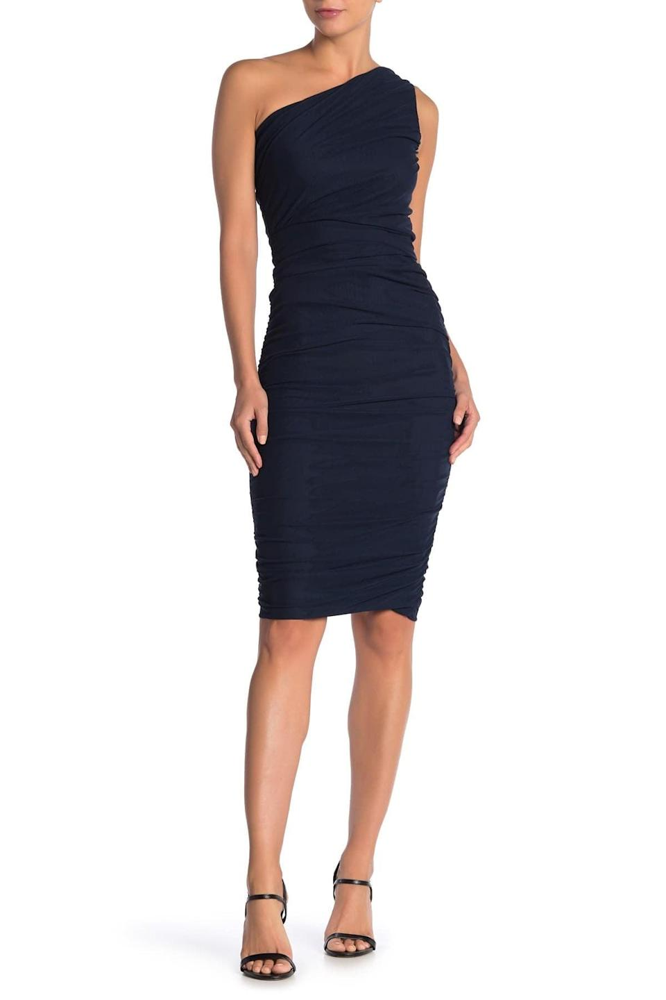 <p>I love a formfitting ensemble like this <span>Love by Design Ruched One Shoulder Midi Dress</span> ($34, originally $96).</p>