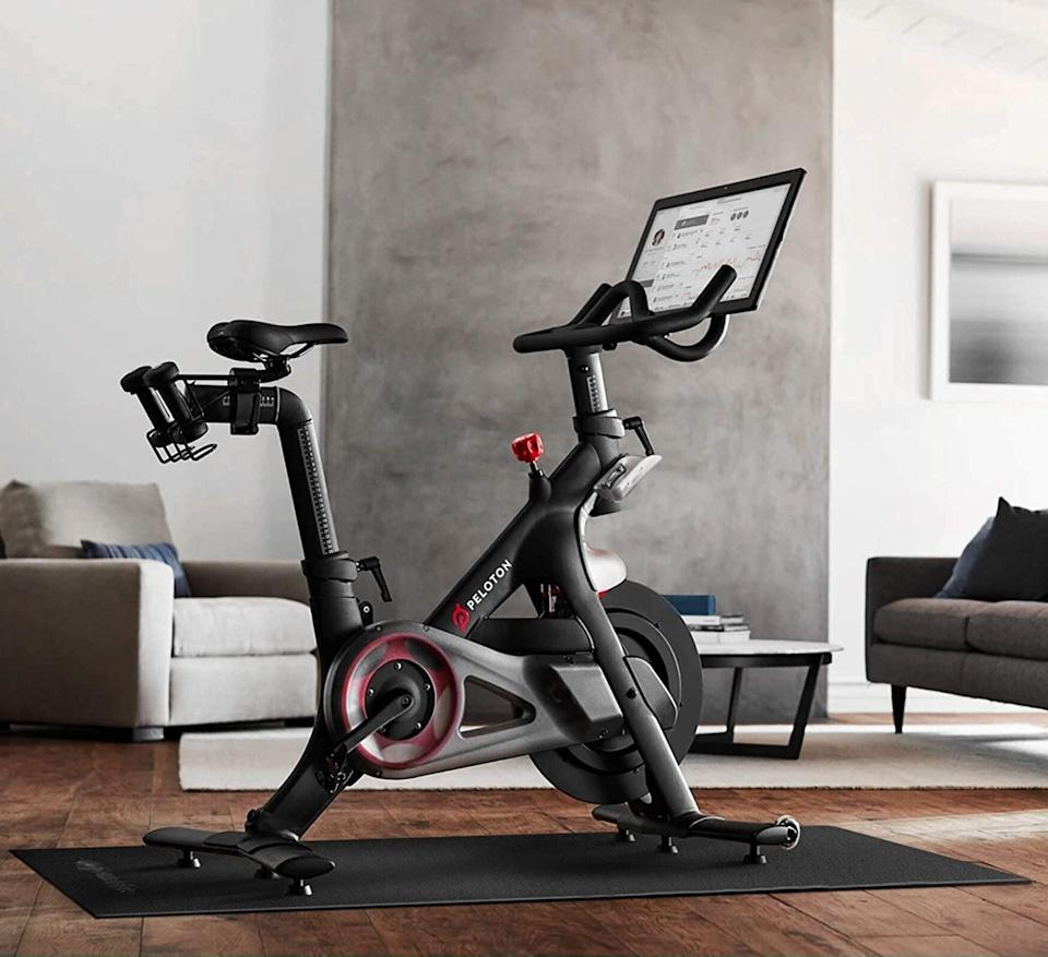 <p>The rigid, nonslip texture on both the top and bottom makes the <span>Powr Labs Exercise Bike Mat</span> ($43, originally $48) a must for hardwood flooring.</p>
