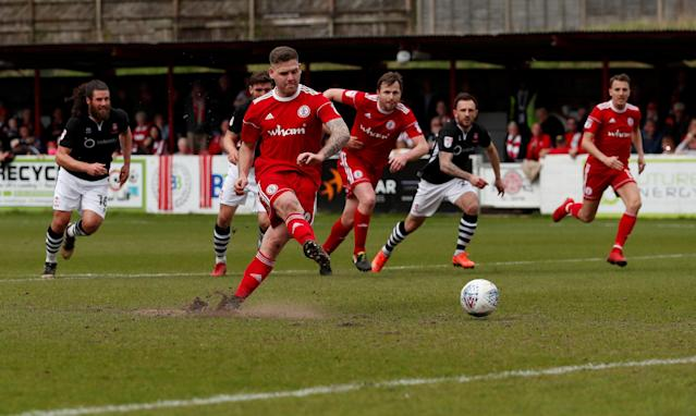 "Soccer Football - League Two - Accrington Stanley v Lincoln City - Wham Stadium, Accrington, Britain - April 28, 2018 Accrington Stanley's Billy Kee misses a penalty Action Images/Andrew Boyers EDITORIAL USE ONLY. No use with unauthorized audio, video, data, fixture lists, club/league logos or ""live"" services. Online in-match use limited to 75 images, no video emulation. No use in betting, games or single club/league/player publications. Please contact your account representative for further details."