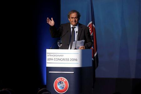 Former UEFA President Michel Platini waves after his speech before the election of the new UEFA President in Athens, Greece September 14, 2016. REUTERS/Alkis Konstantinidis