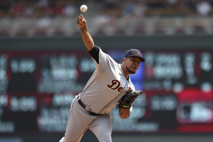 Detroit Tigers pitcher Wily Peralta throws against the Minnesota Twins during the first inning of a baseball game, Sunday, July 11, 2021, in Minneapolis. (AP Photo/Stacy Bengs)