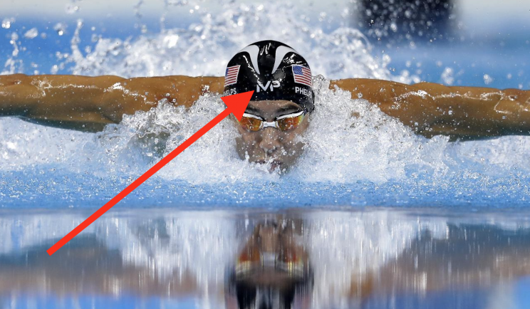 Michael Phelps' logo is there for the world to see.