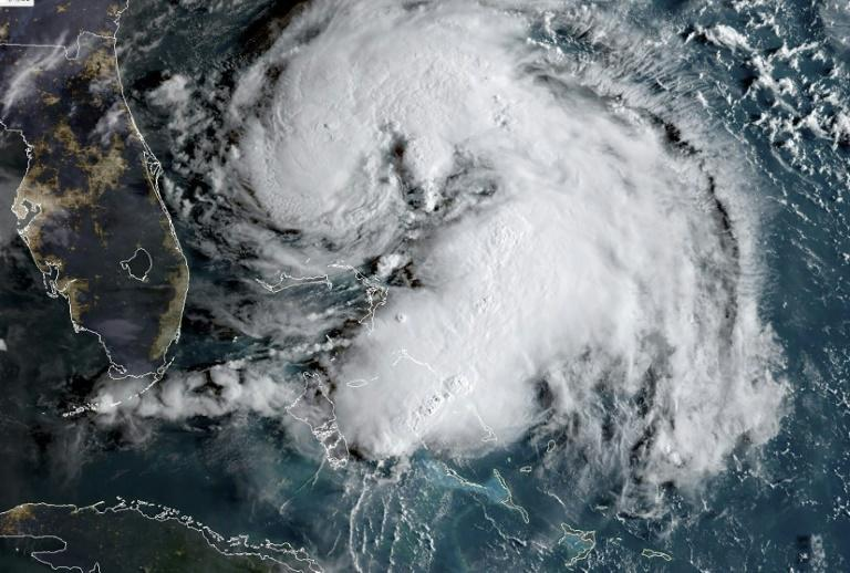 A satellite image of tropical storm Humberto on September 15, 2019