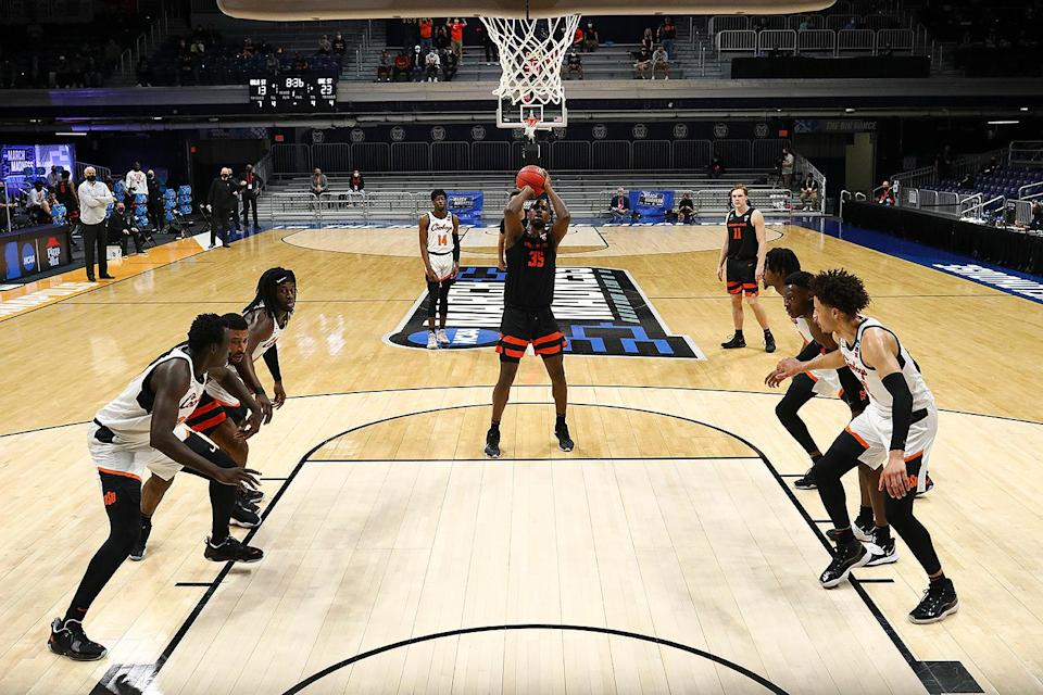 """<p>No. 12 seed Oregon State beat fourth-seeded Oklahoma State University 80-70 to advance to the Round of 16. </p> <p>""""This team had some big goals going into the season,"""" Senior guard Ethan Thompson said after the game, according to the <a href=""""https://osubeavers.com/news/2021/3/21/mens-basketball-beavers-hold-off-oklahoma-state-advance-to-sweet-16.aspx"""" rel=""""nofollow noopener"""" target=""""_blank"""" data-ylk=""""slk:school"""" class=""""link rapid-noclick-resp"""">school</a>. """"One of them was winning a Pac-12 tournament championship, a Pac-12 regular-season championship as well, of course, but we didn't do that. We got the tournament championship. Ultimate goal is to win the NCAA championship.""""</p>"""