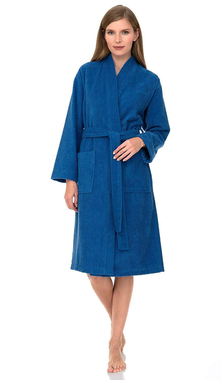 """<h3><a href=""""https://amzn.to/38RS6RV"""" rel=""""nofollow noopener"""" target=""""_blank"""" data-ylk=""""slk:Terrycloth Kimono Robe"""" class=""""link rapid-noclick-resp"""">Terrycloth Kimono Robe</a></h3><br>This cropped, kimono-style robe is crafted from premium 100%-Turkish cotton materials (for an absorbent-cozy finish) and comes fitted with pockets for extra post-shower convenience.<br><br>With nearly 2,000 reviews and a 4.3 out of 5-star rating, customers claim this affordable style is everything from """"very cozy"""" to """"pretty"""" and """"the best bathrobe ever!""""<br><br><strong>TowelSelections</strong> Turkish Cotton Terry Kimono Bathrobe, $, available at <a href=""""https://amzn.to/38RS6RV"""" rel=""""nofollow noopener"""" target=""""_blank"""" data-ylk=""""slk:Amazon"""" class=""""link rapid-noclick-resp"""">Amazon</a>"""