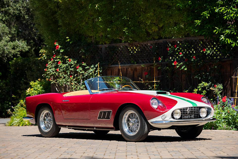 A 1959 Ferrari 250 GT LWB California Spider Competizione could sell for $12 million at Gooding & Company's Pebble Beach Auction.