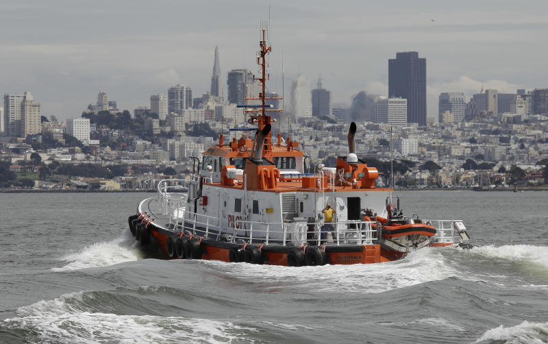 In a photo made Wednesday April 25, 2012, a San Francisco Bar Pilot boat makes its way back to its home pier in San Francisco. Since the days of Mark Twain, the pilots have had it good. Thanks to political clout and highly specialized training, this cadre of 60 ship captains has for more than a century had control over guiding oil tankers and cargo ships in, out and around the San Francisco Bay. (AP Photo/Eric Risberg)