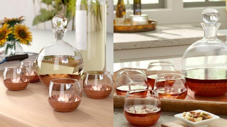 This decanter set would make a great addition to a home bar.