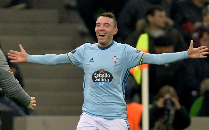 Iago Aspas celebrates his goal in the last 16 match against Krasnodar - Credit: AP