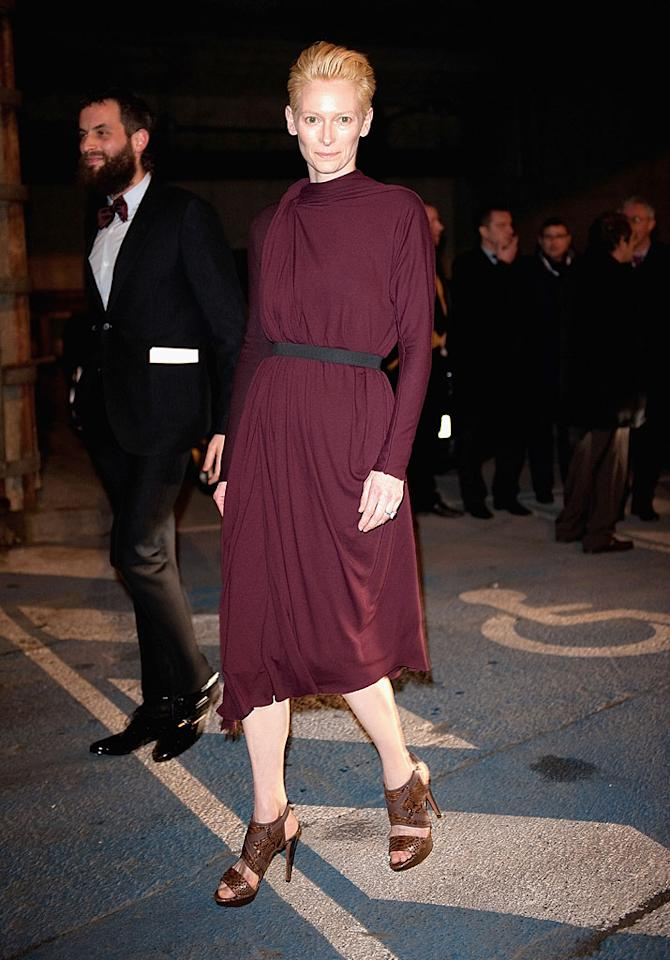 """<p class=""""MsoNormal"""">With her flawless, perpetually glowing complexion and free-spirited style, Scottish actress Tilda Swinton certainly looks younger than her 51 years. Though she's been in countless feature films as an adult, amazingly, as a young woman Swinton was so shy she refused to have her picture taken.""""There are pretty much no photographs in existence of me between the ages of about nine and 25,"""" the actress told <em>Time</em> magazine in December. """"My shyness made me crafty... I got very good at sliding sideways out of the frame at the last minute.""""</p>"""