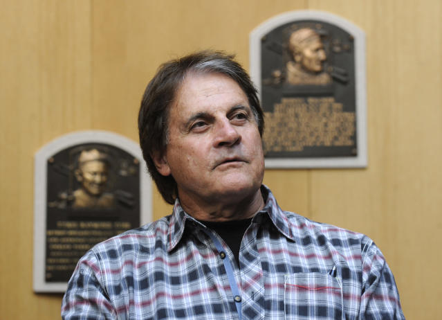 Baseball Hall of Fame inductee Tony La Russa speaks with reporters at the National Baseball Hall of Fame and Museum in Cooperstown, N.Y., Thursday, April 10, 2014. La Russa is scheduled to be inducted into the hall this summer. (AP Photo/Tim Roske)