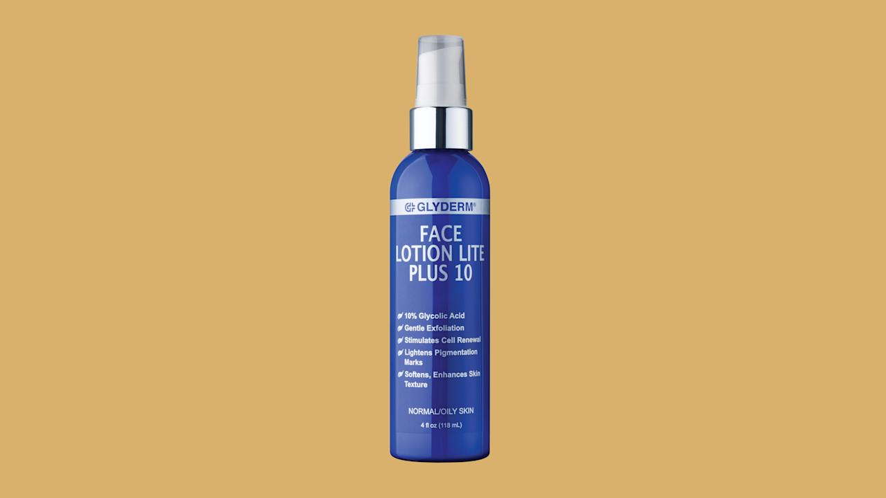"""<p>This doubles as a moisturizer and exfoliator&mdash;just put it on at night and wake up with a fresh, hydrated complexion.</p><p><em><strong>Shop Now: </strong>Glyderm Face Lotion Lite Plus 10, $40.50, <a href=""""http://www.anrdoezrs.net/links/7799179/type/dlg/sid/MSL,Here&#039;sWhyBeautyExpertsSwearbyGlycolicAcid—Plus,TheirTopPicks,kberger,Bea,Gal,1540907,201907,I/https://www.dermstore.com/product_Face+Lotion+Lite+Plus+10_2333.htm"""" data-unprocessed-href=""""https://www.dermstore.com/product_Face+Lotion+Lite+Plus+10_2333.htm"""" data-ecommerce=""""true"""" target=""""_blank"""" rel=""""nofollow"""" data-tracking-affiliate-name=""""www.dermstore.com"""" data-tracking-affiliate-link-text=""""dermstore.com"""" data-tracking-affiliate-link-url=""""https://www.dermstore.com/product_Face+Lotion+Lite+Plus+10_2333.htm"""" data-tracking-affiliate-network-name=""""CJ Deep Link"""">dermstore.com</a></em><em>.</em></p>"""