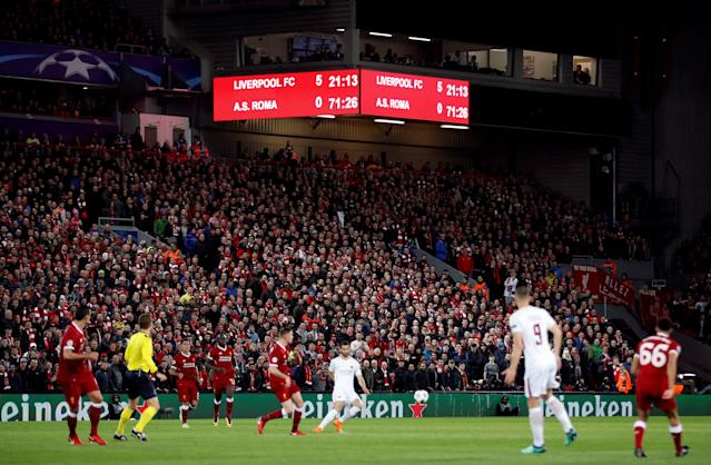Soccer Football – Champions League Semi Final First Leg – Liverpool vs AS Roma – Anfield, Liverpool, Britain – April 24, 2018 General view during the match Action Images via Reuters/Carl Recine