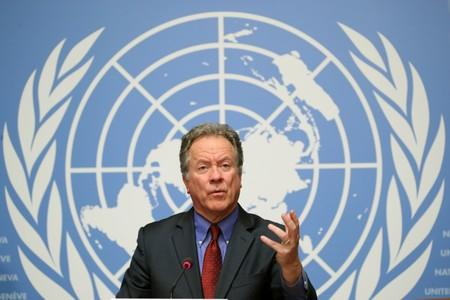 FILE PHOTO: WFP Executive director Beasley attends a news conference in Geneva