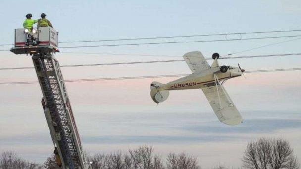 PHOTO: The pilot of a small plane was rescued after it crashed into a power line in Louisville Township, Minnesota. (Scott County Sheriff's Office )