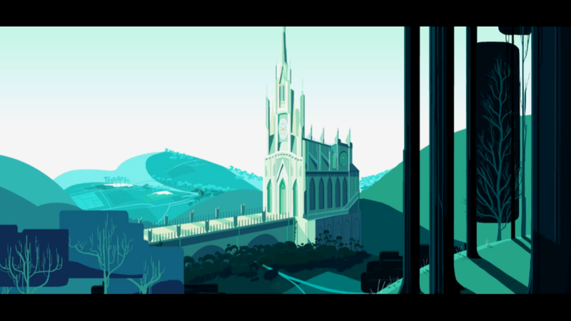 A cartoon version of the Las Lajas Shrine as it appears in the video game Cris Tales.