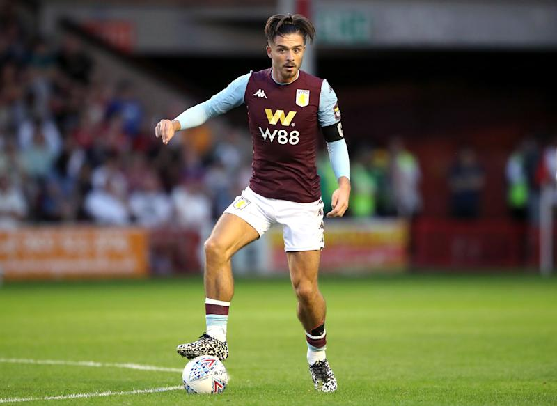 Aston Villa's Jack Grealish during the pre-season friendly match at the Banks's Stadium, Walsall. (Photo by Nick Potts/PA Images via Getty Images)