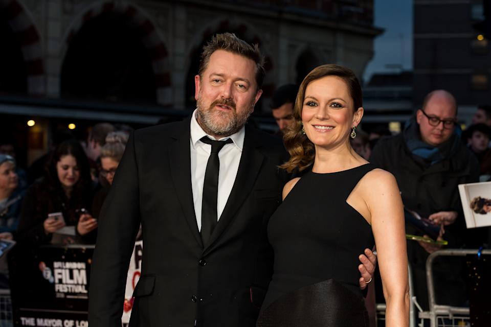 Musician Guy Garvey and partner, actress Rachael Stirling pose for photographers on arrival at the premiere of the film 'Their Finest', showing as part of the London Film Festival in London, Thursday, Oct. 13, 2016.  (Photo by Grant Pollard/Invision/AP)