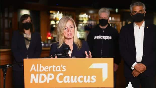 Alberta NDP Leader Rachel Notley says bigger venues are 'desperately searching' for additional staff to check patrons for proof of vaccination or negative COVID-19 test. The new rules go into effect Monday. (screenshot/Alberta NDP - image credit)