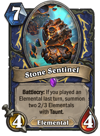<p>Assuming you find a way to trigger his ability, Stone Sentinal can end up being 8/9 worth of minion for seven mana. If you don't pop his Battlecry, however, he's one of the most over-costed cards in the game. </p>