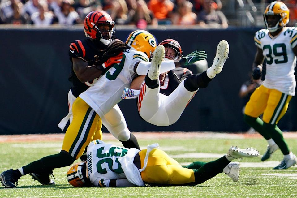 Joe Burrow fortunately got up from a big hit from the Green Bay Packers during the second quarter Sunday at Paul Brown Stadium.