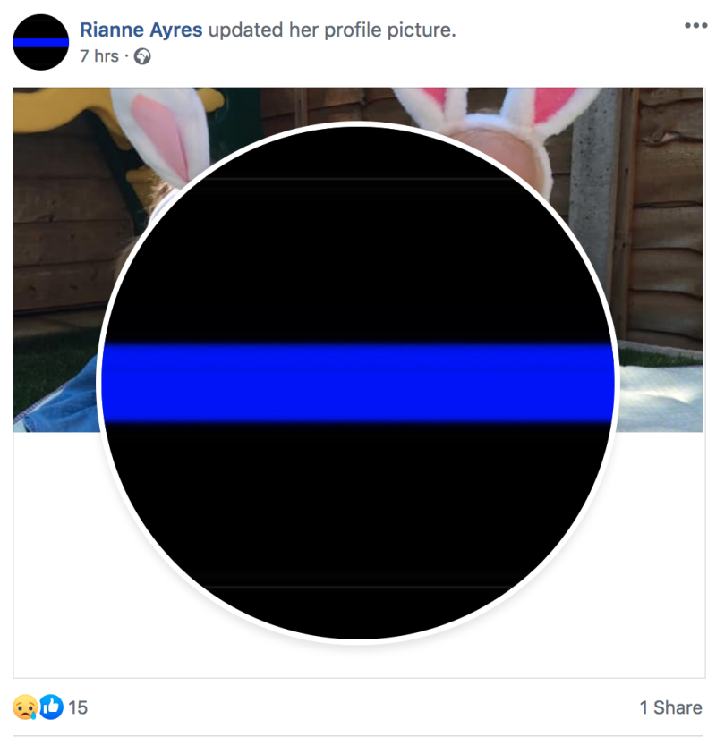 "Another of PC Harper's friends who changed their picture to the ""thin blue line"". (Facebook)"