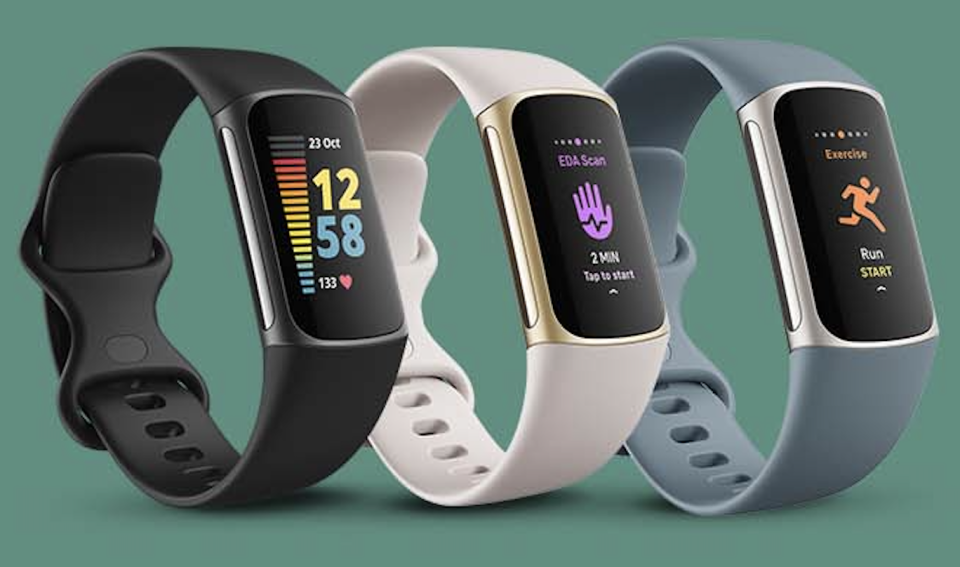 The Fitbit Charge 5 comes in three colourways: Black/Graphite, Lunar White/Soft Gold and Steel Blue/Platinum. (Photo: Fitbit)
